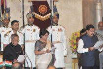 The President, Pranab Mukherjee administering the oath as Minister of State to Y.S. Chowdhary, at a Swearing-in Ceremony