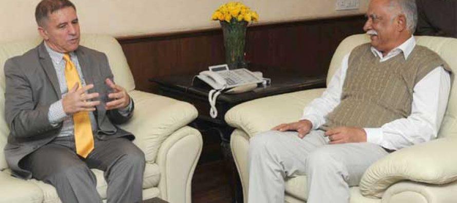 The Ambassador of Israel to India, Daniel Carmon calling on the Union Minister for Civil Aviation, Ashok Gajapathi Raju Pusapati,