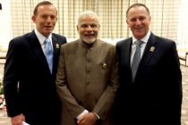 Neighbors across the ocean the Prime Minister, Narendra Modi with the Prime Minister of New Zealand, John Key and the Prime Minister of Australia, Tony Abbott