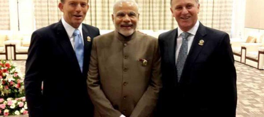 Neighbors across the ocean the Prime Minister, Narendra Modi with the Prime Minister of New Zealand, John Key and the Prime Minister of Australia, Tony Abbott