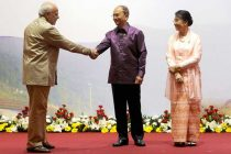 The Prime Minister, Shri Narendra Modi with the President of Myanmar, U. Thein Sein and his wife Khin Khin Win, at Gala Dinner of ASEAN