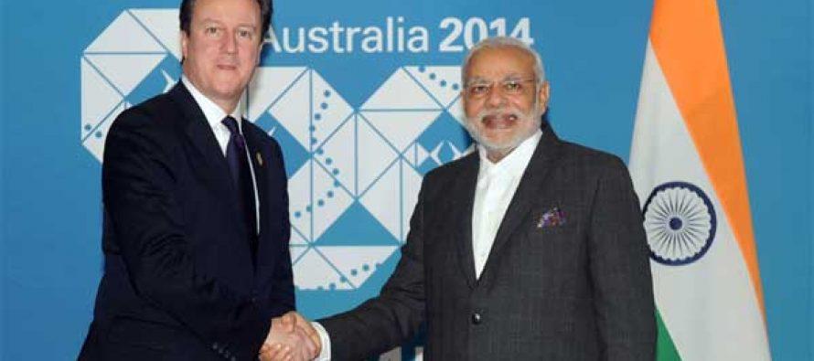 The Prime Minister, Narendra Modi meeting the Prime Minister of United Kingdom, David Cameron, in Brisbane, Australia