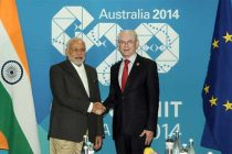 The Prime Minister, Narendra Modi meeting the President of the European Council, Herman Van Rompuy, in Brisbane