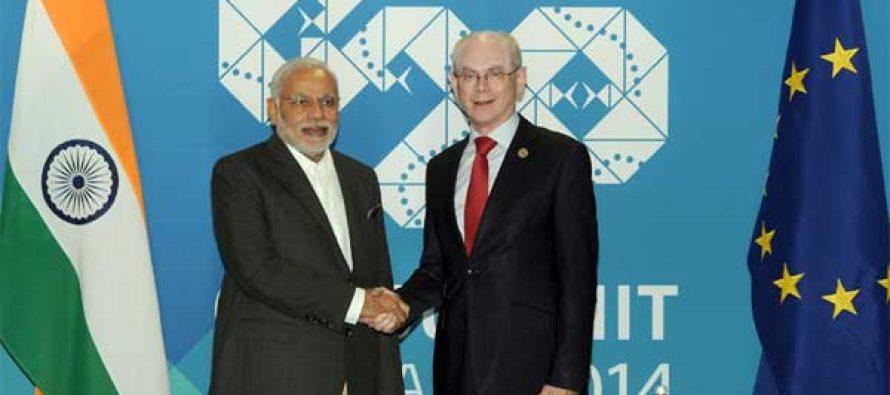 Modi meets EU chief, Cameron
