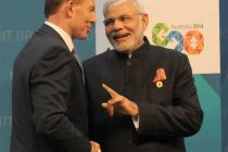 The Prime Minister, Narendra Modi being greeted by the Prime Minister of Australia, Tony Abbott at the Opening Ceremony of the G20 summit