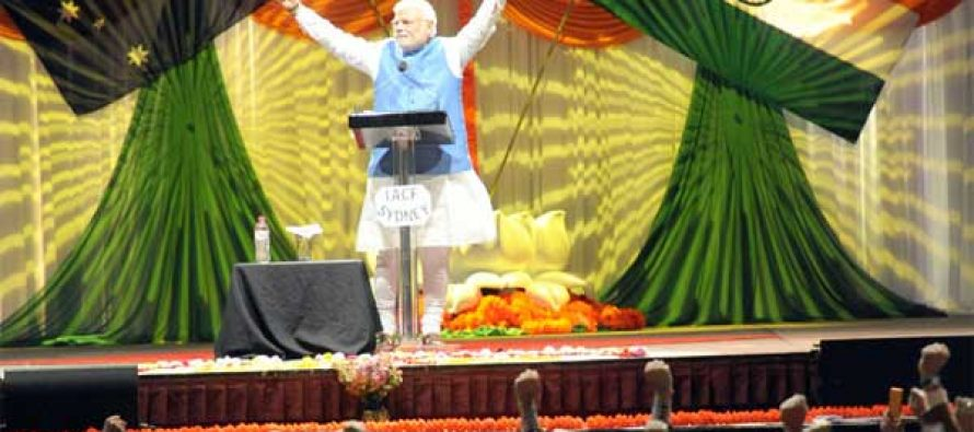 """The Prime Minister, Narendra Modi concluded his speech with """"Bharat Mata Ki Jai"""" at the Community Reception, at Allphones Arena"""