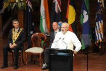 The Prime Minister, Narendra Modi addressing the gathering at the Civic Reception, at City Hall, in Brisbane, Australia on November 16, 2014.