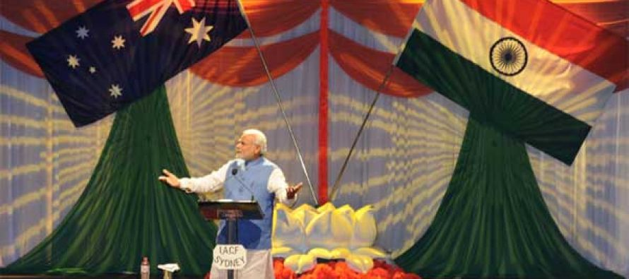 The Prime Minister, Narendra Modi addressing the gathering in the Community Reception, at Allphones Arena, in Sydney