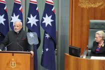 The Prime Minister, Narendra Modi addressing the joint session of Parliament of Australia, at Parliament House, in Canberra