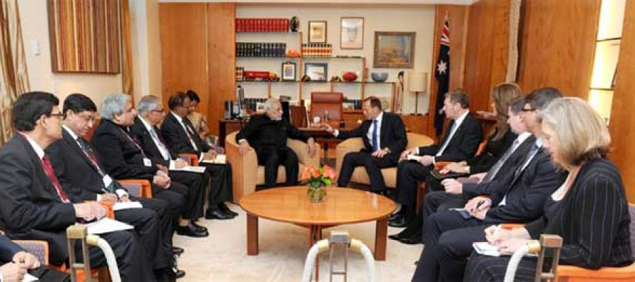 The Prime Minister, Narendra Modi meeting the Prime Minister of Australia, Tony Abbott, at Parliament House, in Canberra
