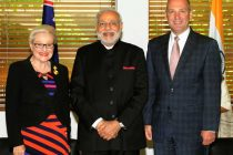 The Prime Minister, Narendra Modi with the Speaker of Australian House of Representatives, Bronwyn Bishop and the President of the Senate