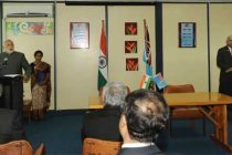 The Prime Minister, Narendra Modi and the Prime Minister of Fiji, Frank Bainimarama giving joint statement,