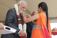 The Prime Minister, Narendra Modi being given the traditional welcome, in Suva, Fiji on November 19, 2014.