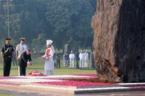 The President, Pranab Mukherjee paying floral tributes at the Samadhi of former Prime Minister, Late Smt. Indira Gandhi