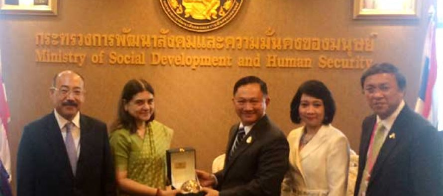 The Minister for Women and Child Development, Maneka Sanjay Gandhi and the Minister for Social Development and Human Security, Thailand, Adul Saengsingkaew