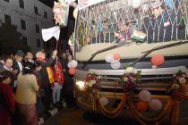 The Prime Minister, Narendra Modi flagging off the Kathmandu-Delhi Direct Bus Service, in Kathmandu, Nepal, on November 25, 2014.