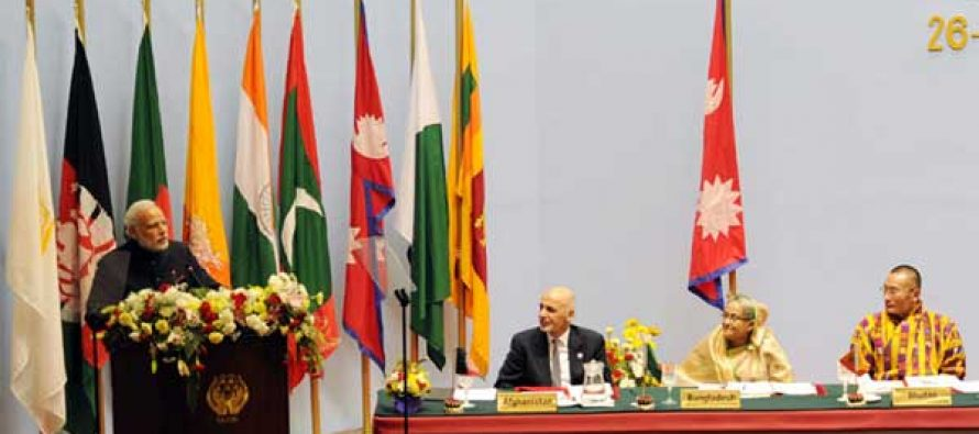 The Prime Minister, Narendra Modi addressing the inaugural session of the 18th SAARC Summit, in Kathmandu, Nepal