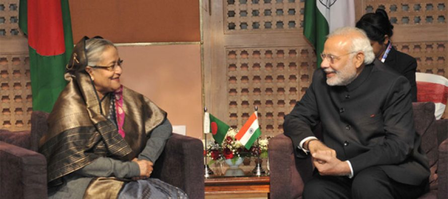 The Prime Minister, Narendra Modi meeting the Prime Minister of Bangladesh, Sheikh Hasina, at the 18th SAARC Summit,
