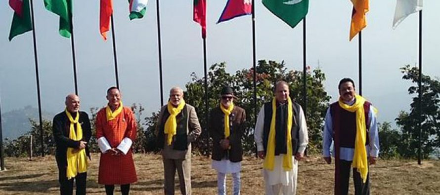 The Prime Minister, Narendra Modi along with the SAARC leaders, during the Retreat Session of 18th SAARC Summit,