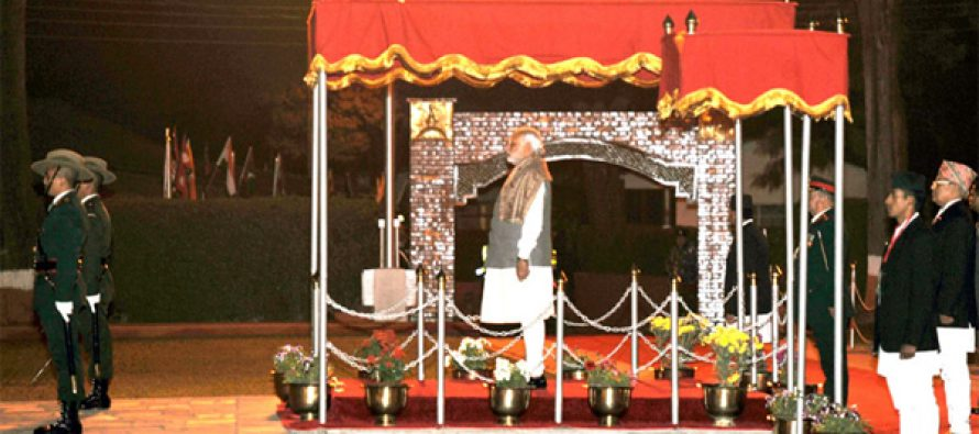 The Prime Minister, Narendra Modi being given the ceremonial farewell on his departure from Nepal on November 27, 2014.