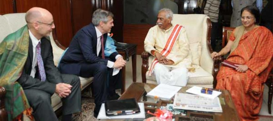 The Ambassador of Germany in India, Micheal Steiner calling on the MoS for Labour and Employment (IC), Bandaru Dattatreya