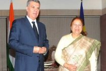 The President of the Chamber of Deputies of the Parliament, Romania, Valeriu Stefan Zgonea calling on the Speaker, Lok Sabha, Sumitra Mahajan,