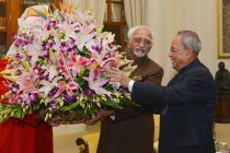 President of India, Pranab Mukherjee, meeting with Mohd. Hamid Ansari, Vice President of India, on the occasion of his birthday