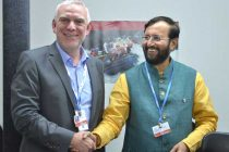 The MoS for Environment, Forest and Climate Change (IC), Prakash Javadekar meeting the State Secretary for Environment, Nature Conservation, Building and Nuclear Safety of Government, Germany,