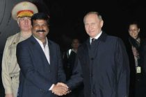 The President of the Russian Federation, Vladimir Putin being received by the MoS (IC) for Petroleum and Natural Gas, Dharmendra Pradhan