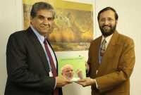 The MoS for Environment, Forest and Climate Change (IC), Prakash Javadekar presenting the book on Climate Change authored by the Prime Minister, Shri Narendra Modi, to the Minister of Environment of Egypt, Dr. Khaled Fahmi, at UNFCCC CoP 20, in Lima