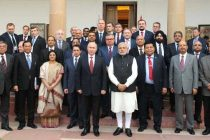 The Prime Minister, Narendra Modi and he President of the Russian Federation, Vladimir Putin after interaction with the CEOs