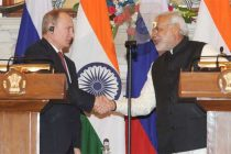 The Prime Minister, Narendra Modi and the President of the Russian Federation, Vladimir Putin at the joint press statements