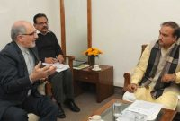 The Ambassador of the Islamic Republic of Iran, Gholamreza calling on the Minister for Chemicals and Fertilizers, Ananthkumar