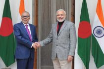 The Prime Minister, Narendra Modi meeting the President of the People's Republic of Bangladesh, Abdul Hamid,