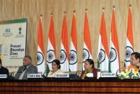 The Minister for External Affairs and Overseas Indian Affairs, Sushma Swaraj addressing a press conference on the forthcoming 13th PBD