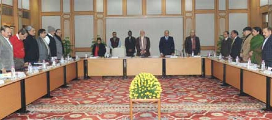 The Cabinet pays homage to victims of cowardly attacks on Adivasis in Assam, in New Delhi on December 24, 2014.