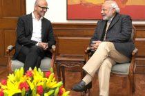 The CEO, Microsoft, Satya Nadella calling on the Prime Minister, Narendra Modi, in New Delhi on December 26, 2014.