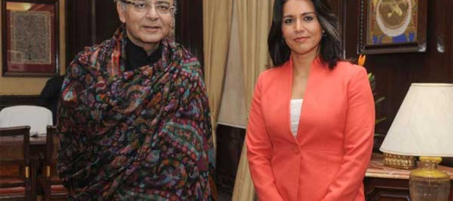 The Member of United States Congress (House of Representatives), Tulsi Gabbard calls on the Minister for Finance, Corporate Affairs and Information & Broadcasting, Arun Jaitley