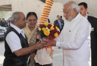 The Prime Minister, Narendra Modi being welcomed on his arrival, at Mahatma Temple, in Gandhinagar on January 08, 2015.