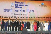 The Vice President, Mohd. Hamid Ansari with the awardees at the Valedictory Session of the Pravasi Bharatiya Divas 2015