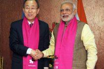 The Prime Minister, Narendra Modi meeting the UN Secretary General, Ban Ki Moon, in Gandhinagar, Gujarat on January 11, 2015.