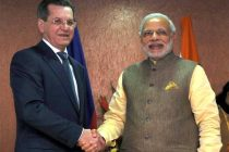The Prime Minister, Narendra Modi meeting the Governor of Astrakhan, Russia, Alexander Zhilkin, in Gandhinagar