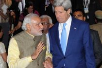 The Prime Minister, Narendra Modi with the US Secretary of State, John Kerry at the 7th Vibrant Gujarat Global Summit 2015,