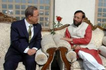 The MoS for Environment, Forest and Climate Change (IC), Prakash Javadekar meeting the UN Secretary General, Ban Ki Moon