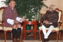 The Prime Minister of Bhutan, Tshering Tobgay calling on the Vice President, Mohd. Hamid Ansari, in New Delhi on January 14, 2015.