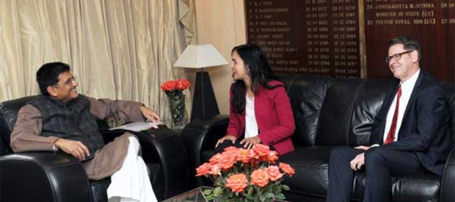 The MoS (IC) for Power, Coal and New and Renewable Energy, Piyush Goyal meeting the Australian Senator, Lisa Singh