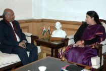 The High Commissioner for Sri Lanka to India, Prof. Sudharshan Seneviratne calls on the Minister for Human Resource Development,