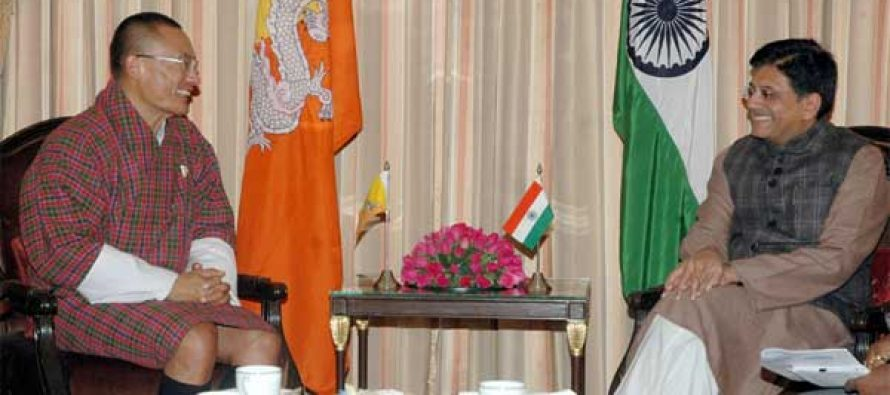 The Prime Minister of Bhutan, Tshering Tobgay calling on the MoS (IC) for Power, Coal and New and Renewable Energy, Piyush Goyal