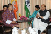 The Union Home Minister, Rajnath Singh meeting the Prime Minister of Bhutan, Tshering Tobgay, in New Delhi on January 15, 2015.