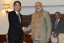 The Minister of Foreign Affairs of Japan, Fumio Kishida calling on the Prime Minister, Narendra Modi, in New Delhi on January 16, 2015.